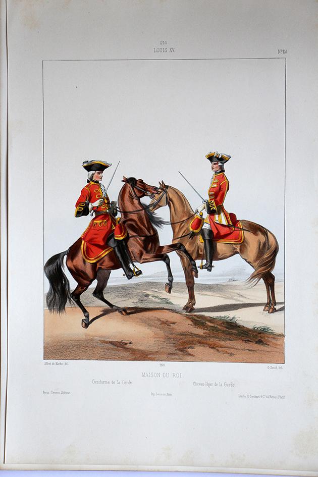 Maison du Roi - Gendarme de la Garde/Chevau-léger Garde - Uniformes Louis XV - 1745- Planche 157 - Alfred de Marbot