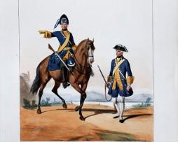 Volontaires de Dauphiné - Uniformes Louis XV - 1758- Planche 191 - Alfred de Marbot