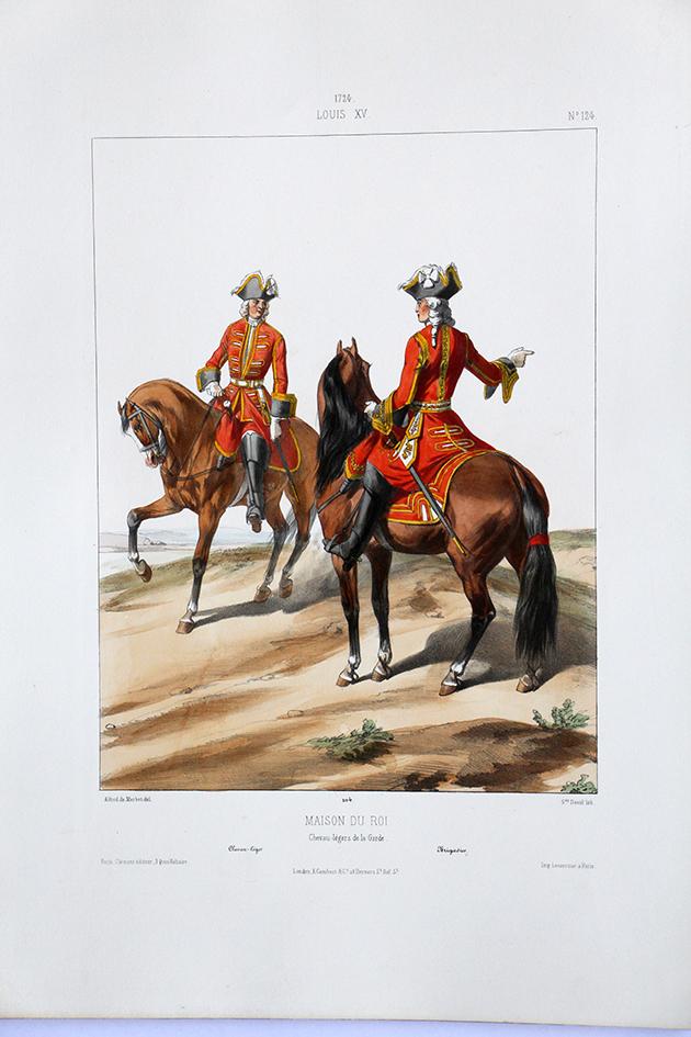 Maison du Roi - Chevau-légers de la garde - Uniformes Louis XV - 1724- Planche 124 - Alfred de Marbot