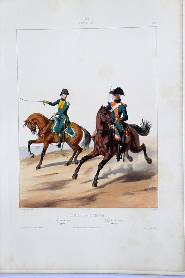 Chasseurs à Cheval - Vosges/Gévaudan- Uniformes Louis XVI - 1796- Planche 293 - Alfred de Marbot