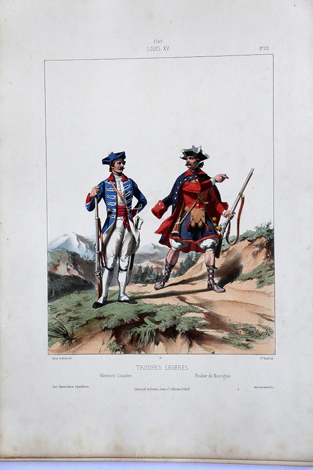 Troupes Légères Cantabre/Montagne- Uniformes Louis XV - 1745- Planche 170- Alfred de Marbot