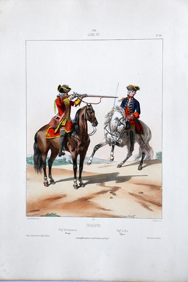Régiment Dragons à Cheval - Uniformes Louis XV - 1745- Planche 166- Alfred de Marbot