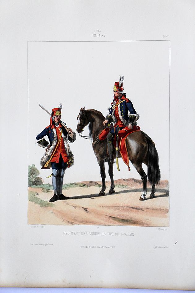 Régiment des Arquebusiers de Grassin - Uniformes Louis XVI - 1745- Planche 167- Alfred de Marbot
