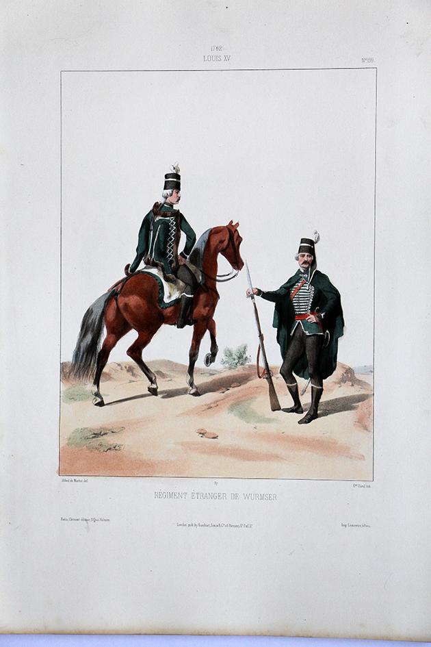 Régiment Etranger de Wurmser - Uniformes Louis XVI - 1762 - Planche 199- Alfred de Marbot