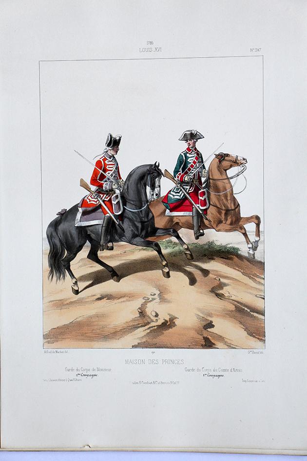 maison de princes garde du corps uniformes louis xvi 1786 planche 247 alfred de marbot. Black Bedroom Furniture Sets. Home Design Ideas