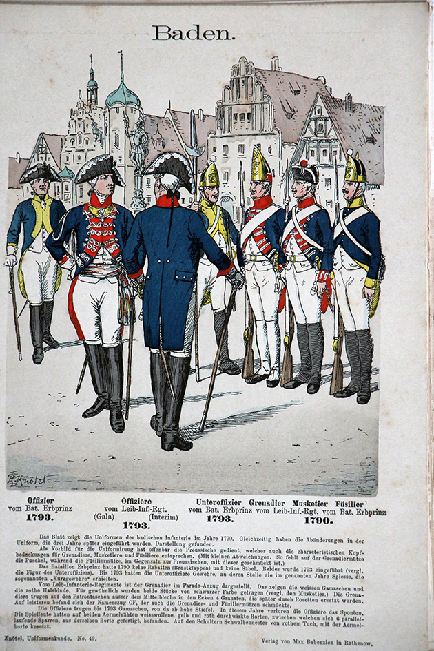 Baden 1793 - Uniformenkunde - Richard Knötel - V1 - Planche 49