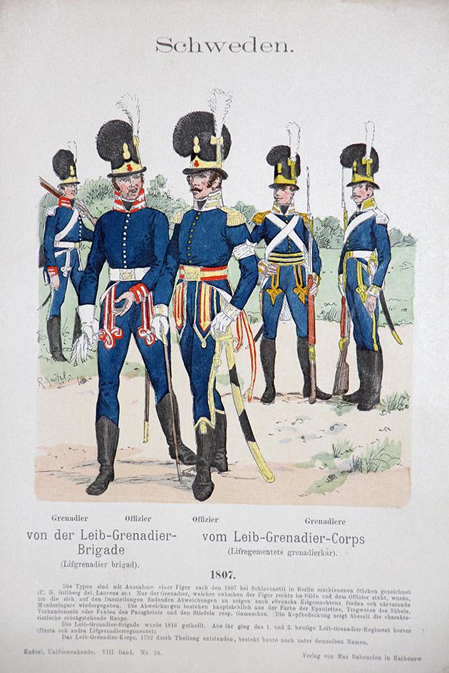 Schweden 1807 - Uniformenkunde - Richard Knötel - VIII- Planche 24