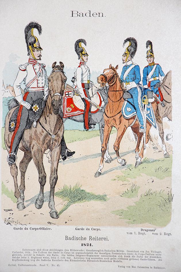 Baden 1824 - Uniformenkunde - Richard Knötel - V- Planche 45
