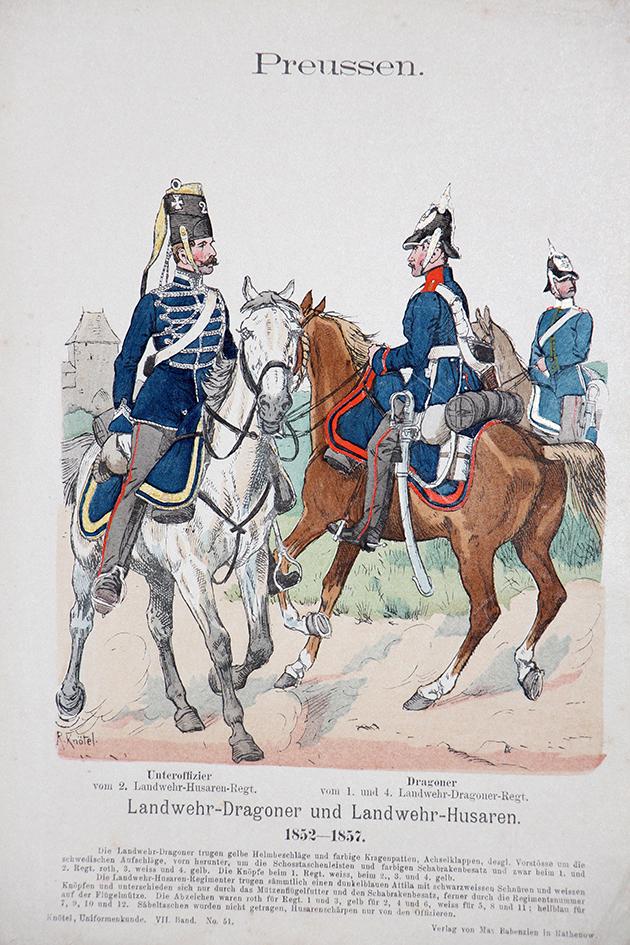 Preussen 1852/1857 - Uniformenkunde - Richard Knötel - VII- Planche 51