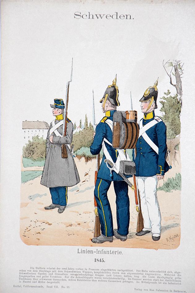 Schweden 1845 - Uniformenkunde - Richard Knötel - VII- Planche 10