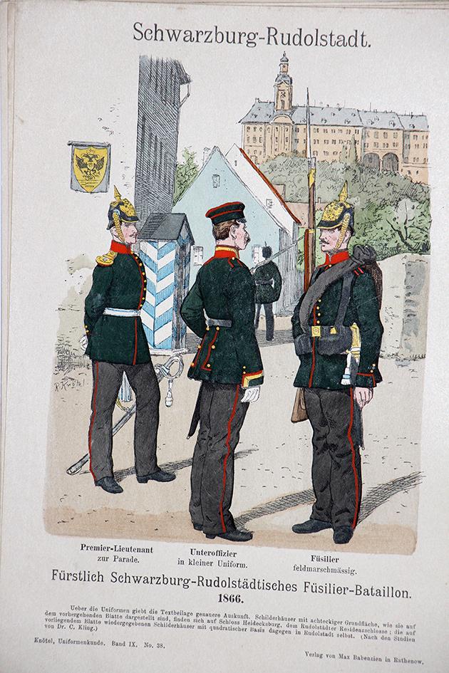 Schwarzburg Rudolstadt 1866 - Uniformenkunde - Richard Knötel - IX - Planche 38