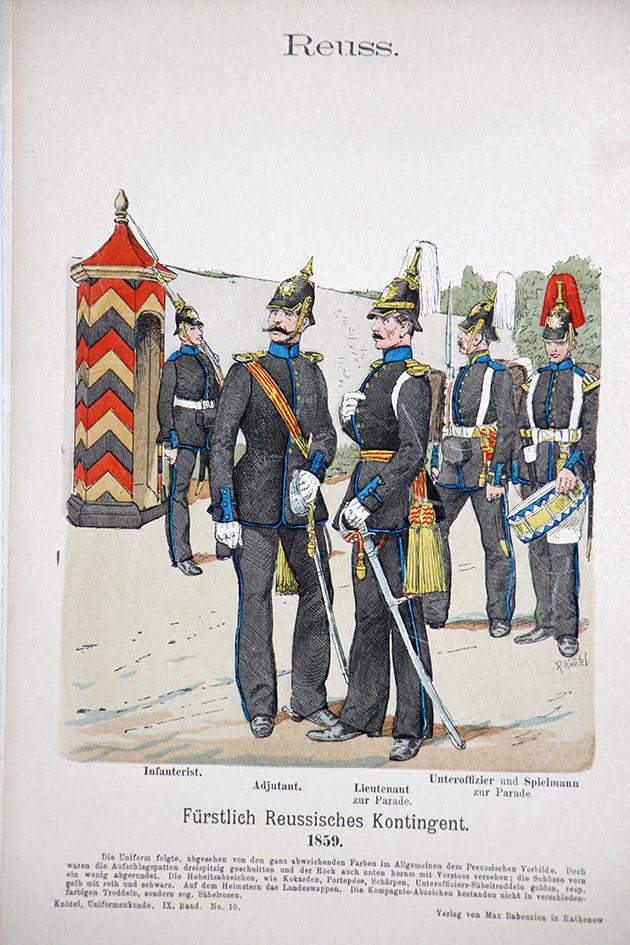 Reuss 1859 - Uniformenkunde - Richard Knötel - IX - Planche 10