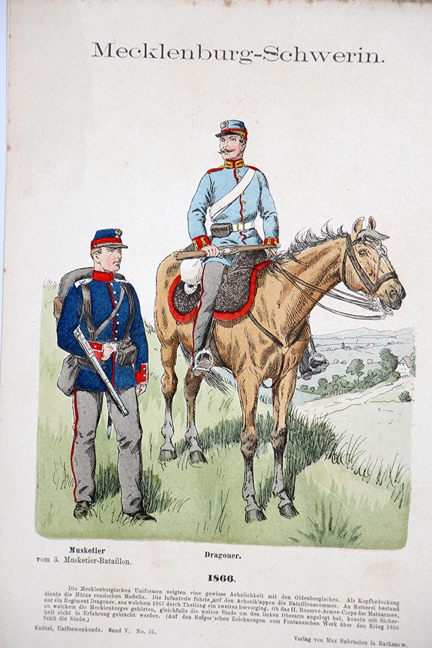 Mecklenburg Schwerin 1866 - Uniformenkunde - Richard Knötel - V - Planche 31
