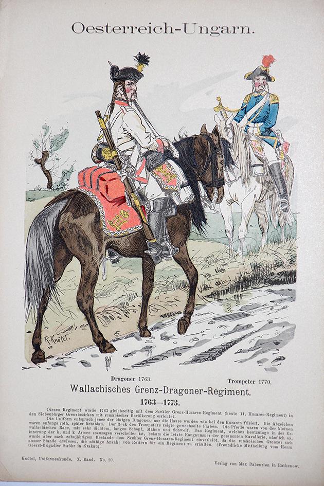 Oesterreich-Ungarn 1763/1773 - Uniformenkunde - Richard Knötel - X - Planche 20