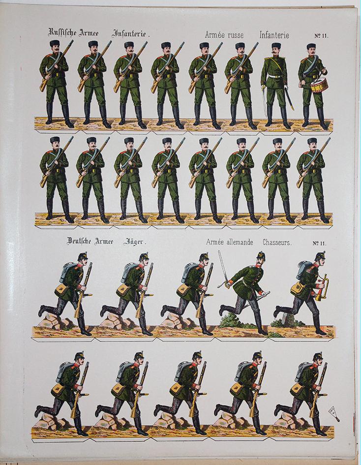 Planche imagerie Wissembourg Guerre Armée Russe et Prussienne Soldats de carte