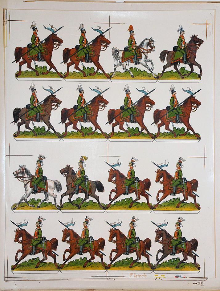 Planche imagerie Wissembourg Guerre Armée Bavaroise Lancier Soldats de carte