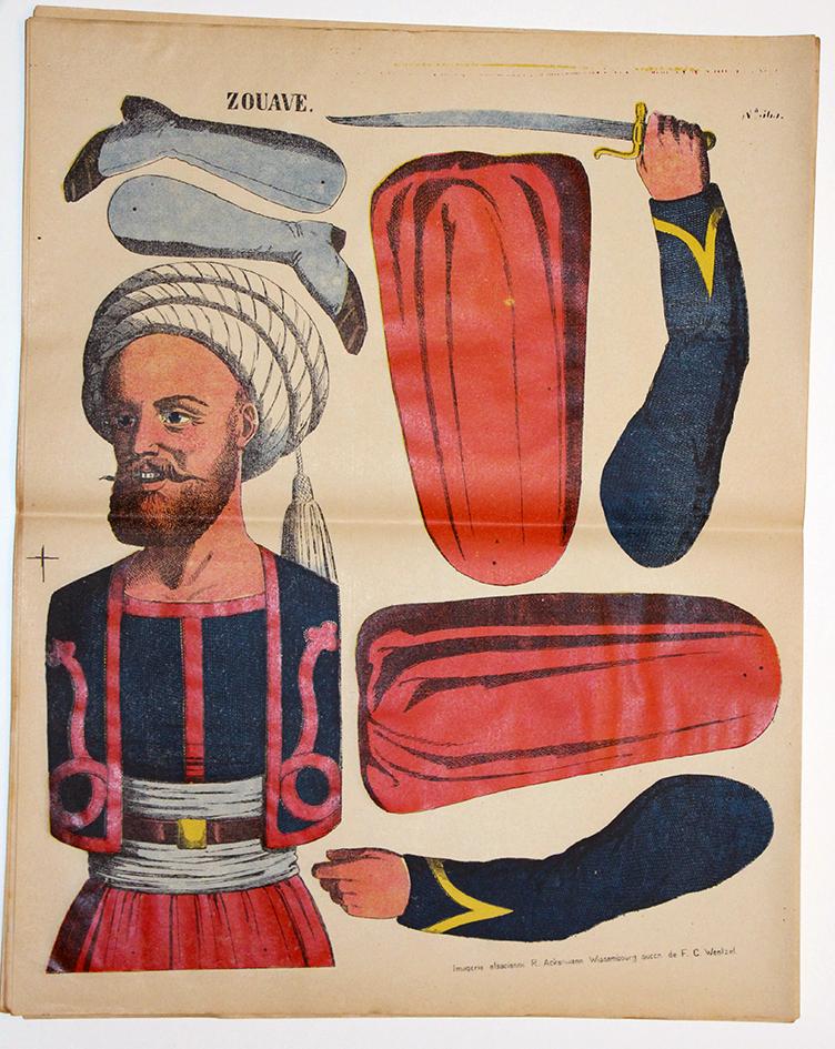 Planche imagerie Wissembourg Guerre Armée Française Uniforme Zouaves Pantin