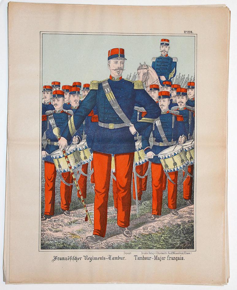 Planche imagerie Wissembourg guerre Armée Française Uniforme Tambour Major