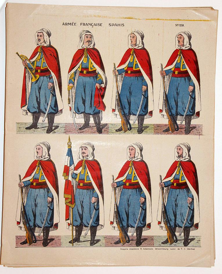 Planche imagerie wissembourg guerre 1914 armée française spahis uniforme