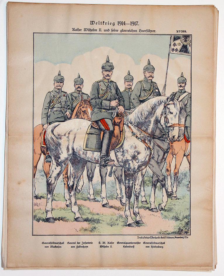 Planche imagerie Wissembourg Guerre 14/18 Etat Major Prussien Kaiser en campagne