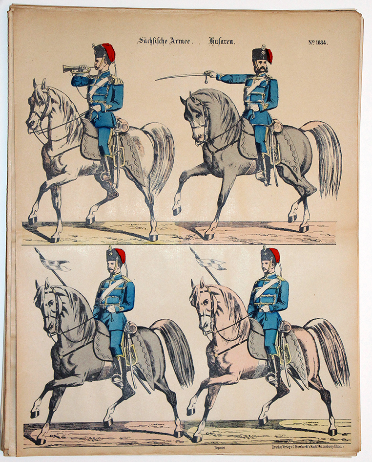 Planche imagerie Wissembourg Armée Saxe Cavalerie Hussards