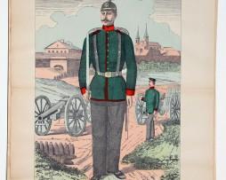 Planche imagerie Wissembourg guerre Armée Prussienne Uniforme Artillerie Saxe