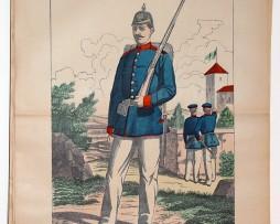 Planche imagerie wissembourg guerre 1914 armée Prussienne Saxonne Infanterie
