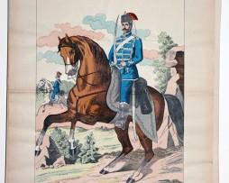 Planche imagerie Wissembourg guerre Armée Prussienne Uniforme Hussards Saxe