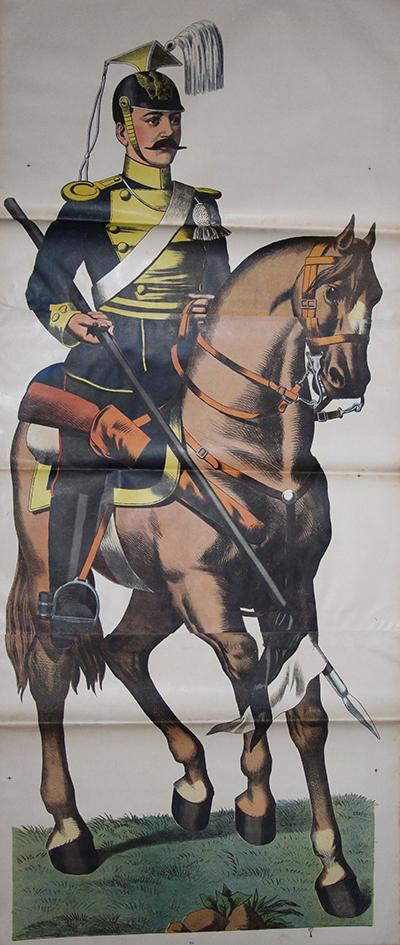 Grande planche dépliante Wissembourg Uhlan Prussien Uniforme Guerre