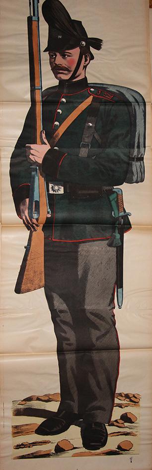 Grande planche dépliante Wissembourg Chasseur Prussien Uniforme Guerre