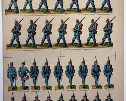 Planche imagerie Wissembourg Guerre Armée Bavaroise Infanterie Soldats de carte