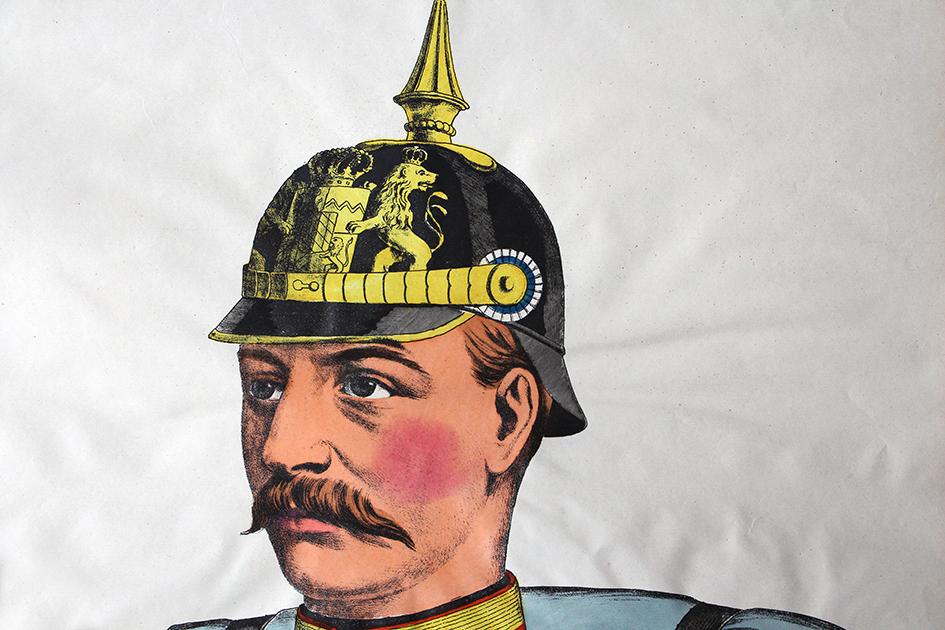 Grande planche dépliante Wissembourg Infanterie bavaroise Uniforme