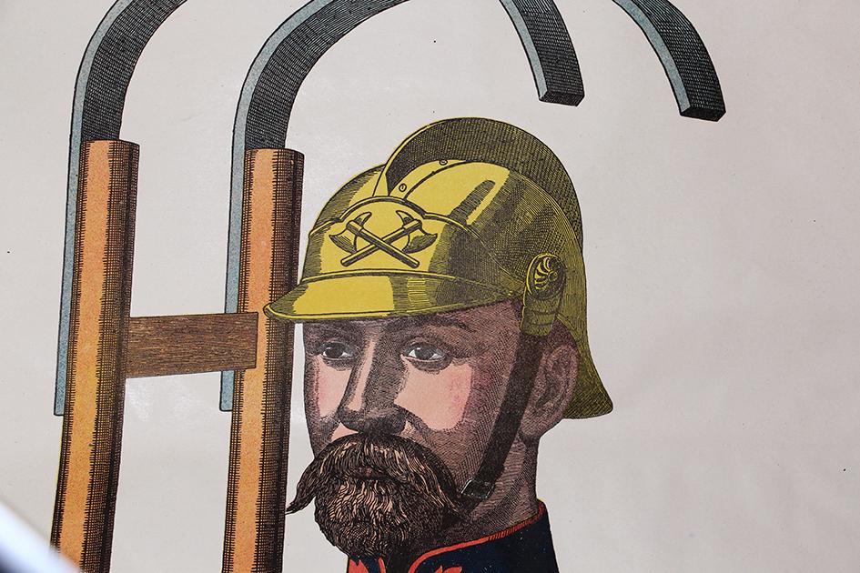 Grande planche dépliante Wissembourg Pompier Uniforme Exercice 1880