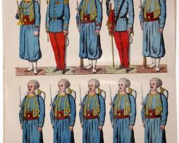 Planche imagerie Wissembourg Armée Française Infanterie Uniforme Zouaves
