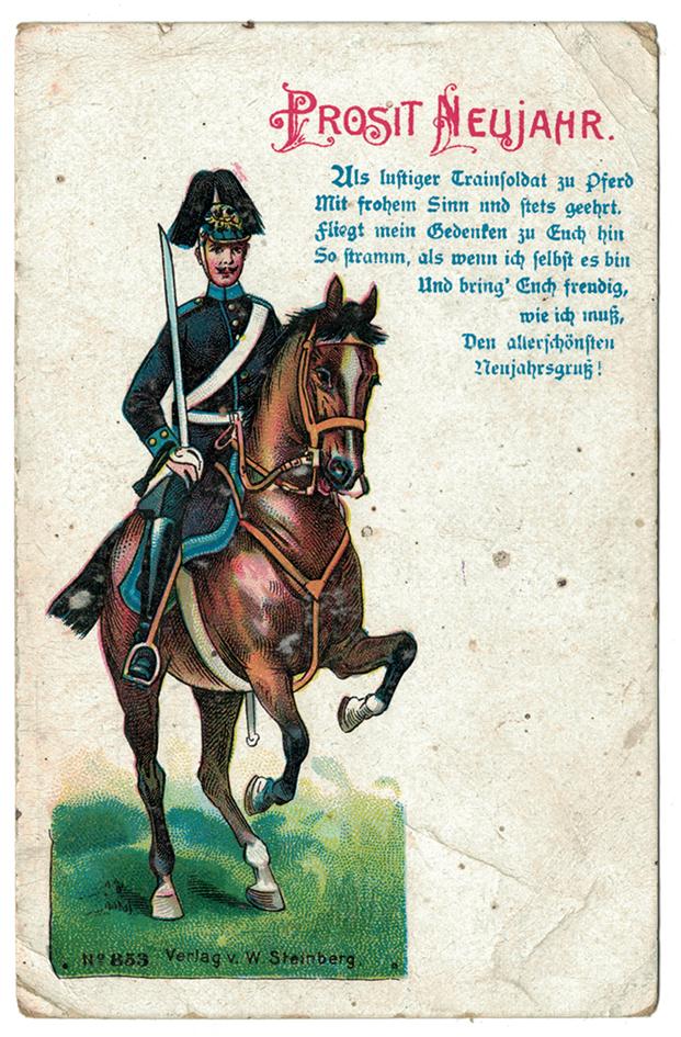 Carte de régiment du Train Allemand 1914 Prosit Neujahr 14
