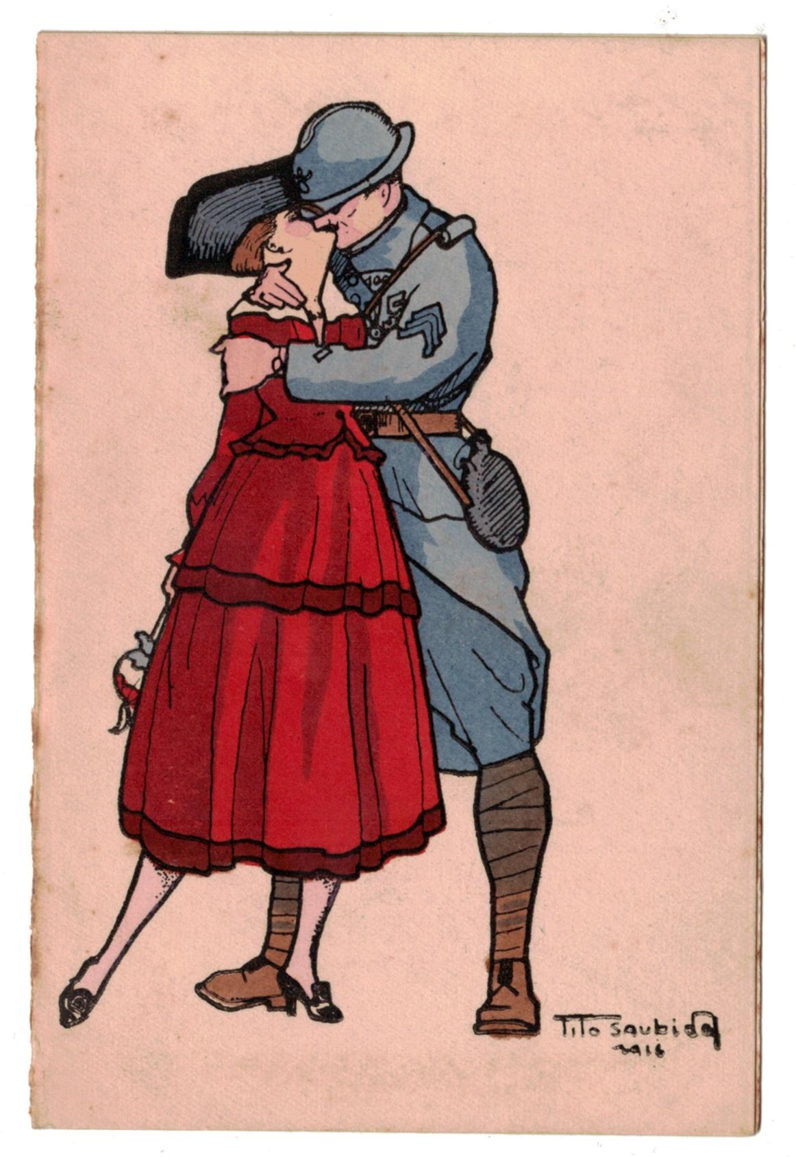 Poilu en permission et sa belle française un baiser fougueux - Tito Saubidet (1891-1955)