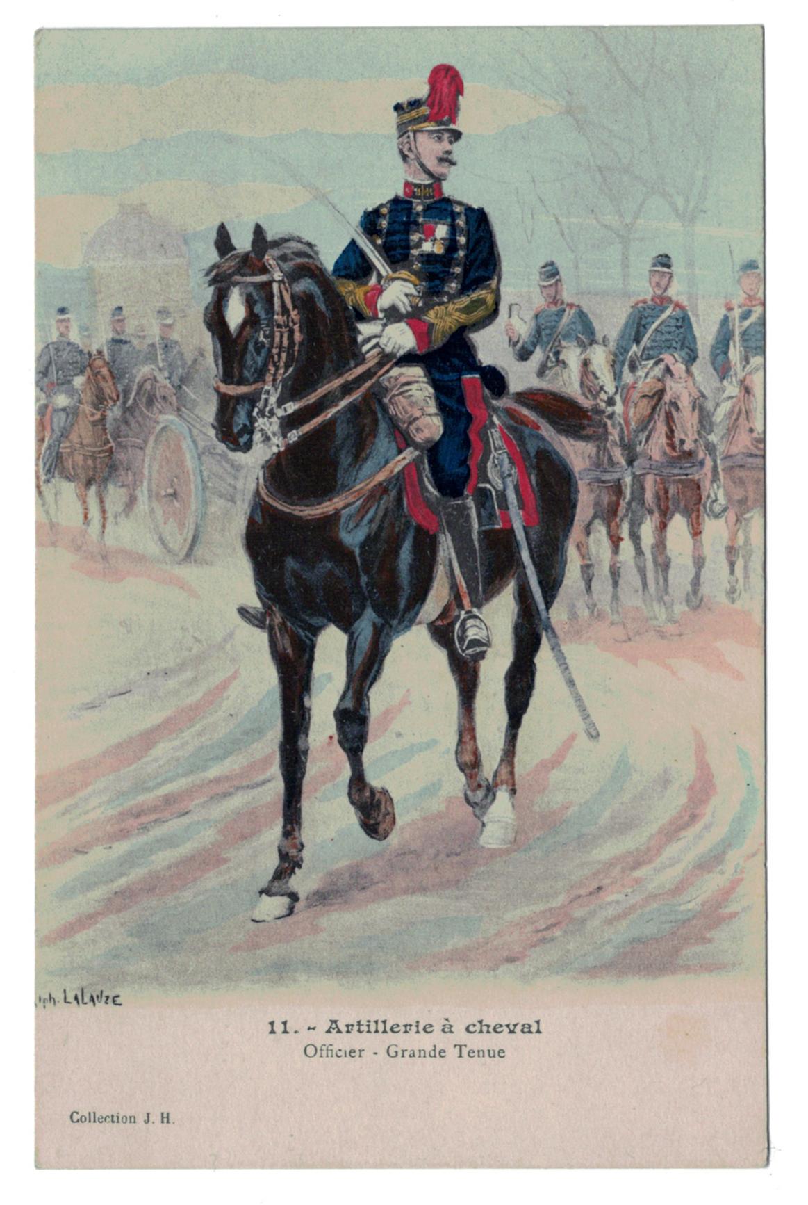 Artillerie a cheval - Officier - grande tenue - Lalauze - Guerre 1914
