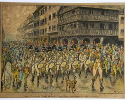 Calendrier Imprimerie Alsacienne - Huen Victor - Division Oudinot départ en campagne