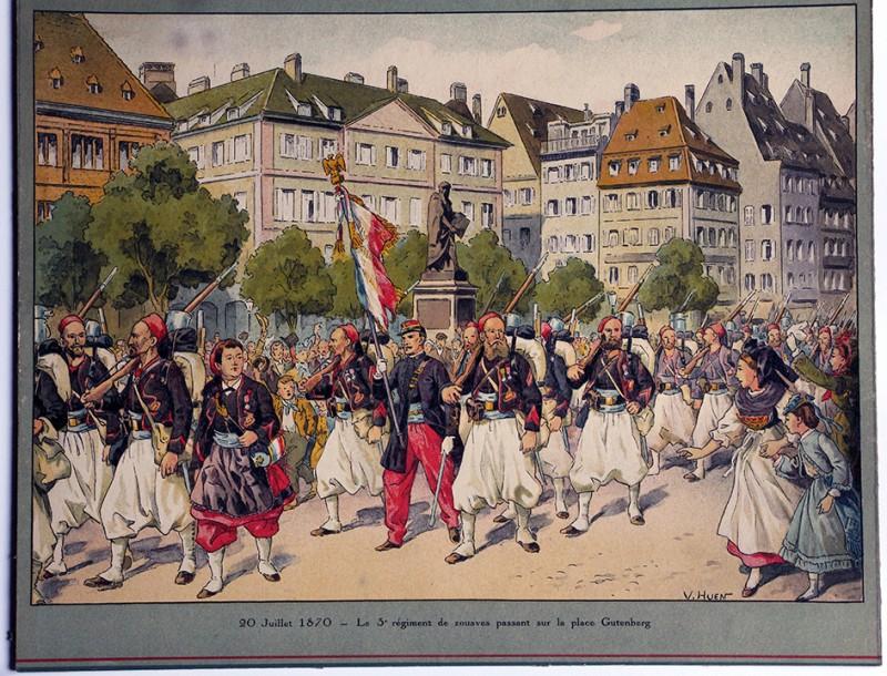 Calendrier Imprimerie Alsacienne - Huen Victor - Zouaves partant pour le combat 1870.