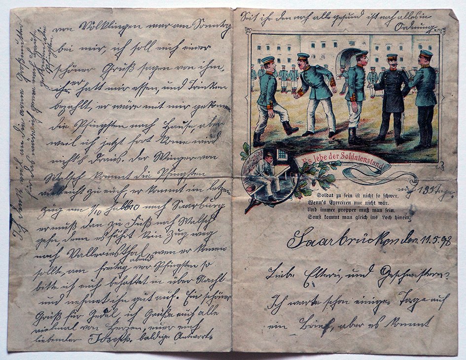 Lot de 10 papiers à lettre correspondance de soldat Allemand avant 14 - Service militaire - Strasbourg