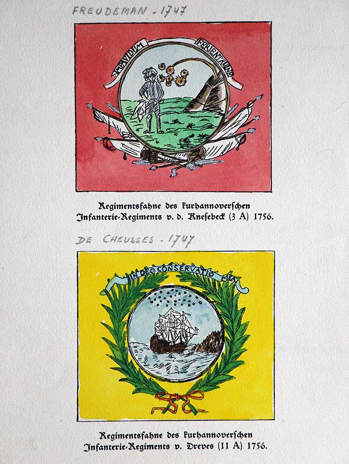 Lot de 14 planches Hannovre - Uniforme - Drapeau - Edition 1960