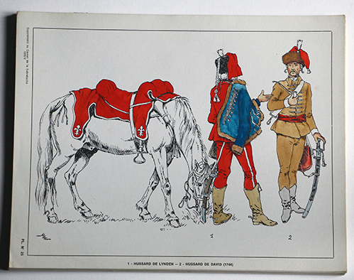 Lot de 23 planches - Uniforme Spécial Hussards - Revue Sabretache - 1971