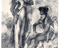Gravure de Charlet - Recrues pour la Garde Impériale - Gravure XIX