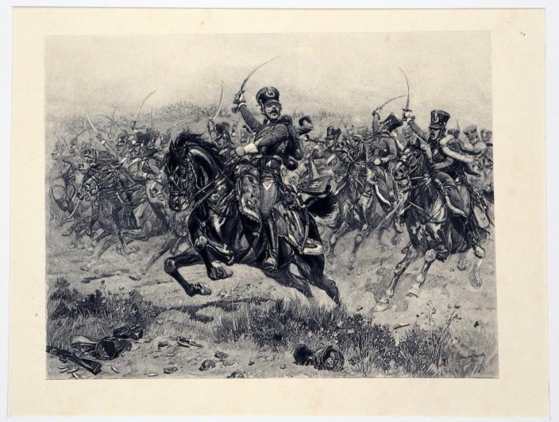 Edouard Détaille - Charge de Hussards - 1er Empire - Gravure