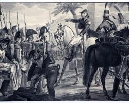 Gravure Lithographie - Kléber à la bataille d'Héliopolis - Campagne d'Egypte - XIX Siècle