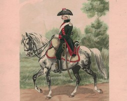 2 Gravures - Dragons de Boufflers 1784 - Chasseurs d'Alsace 1788 - Lithographie rehaussée au pochoir.
