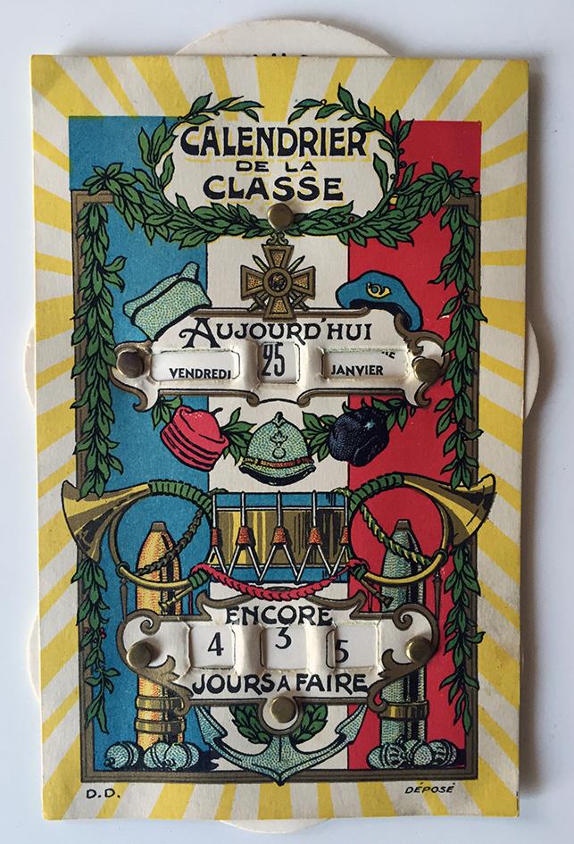 Carte postale à mécanique - Calendrier des classes militaires - Décompte des jours - 1940 - Père 100