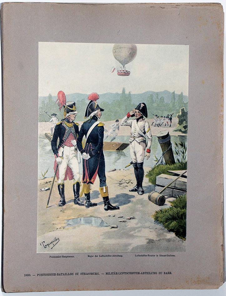 Les garnisons d'Alsace - Gravure Tanconville - Les pontonniers 1800