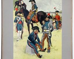 Les garnisons d'Alsace - Gravure Frédéric Regamey - Artillerie à Pied et à Cheval - 1800