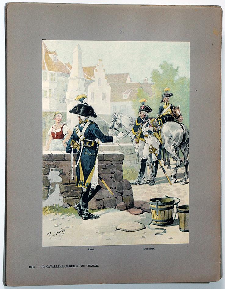 Les garnisons d'Alsace - Gravure Tanconville - 10e Regiment de cavalerie 1803